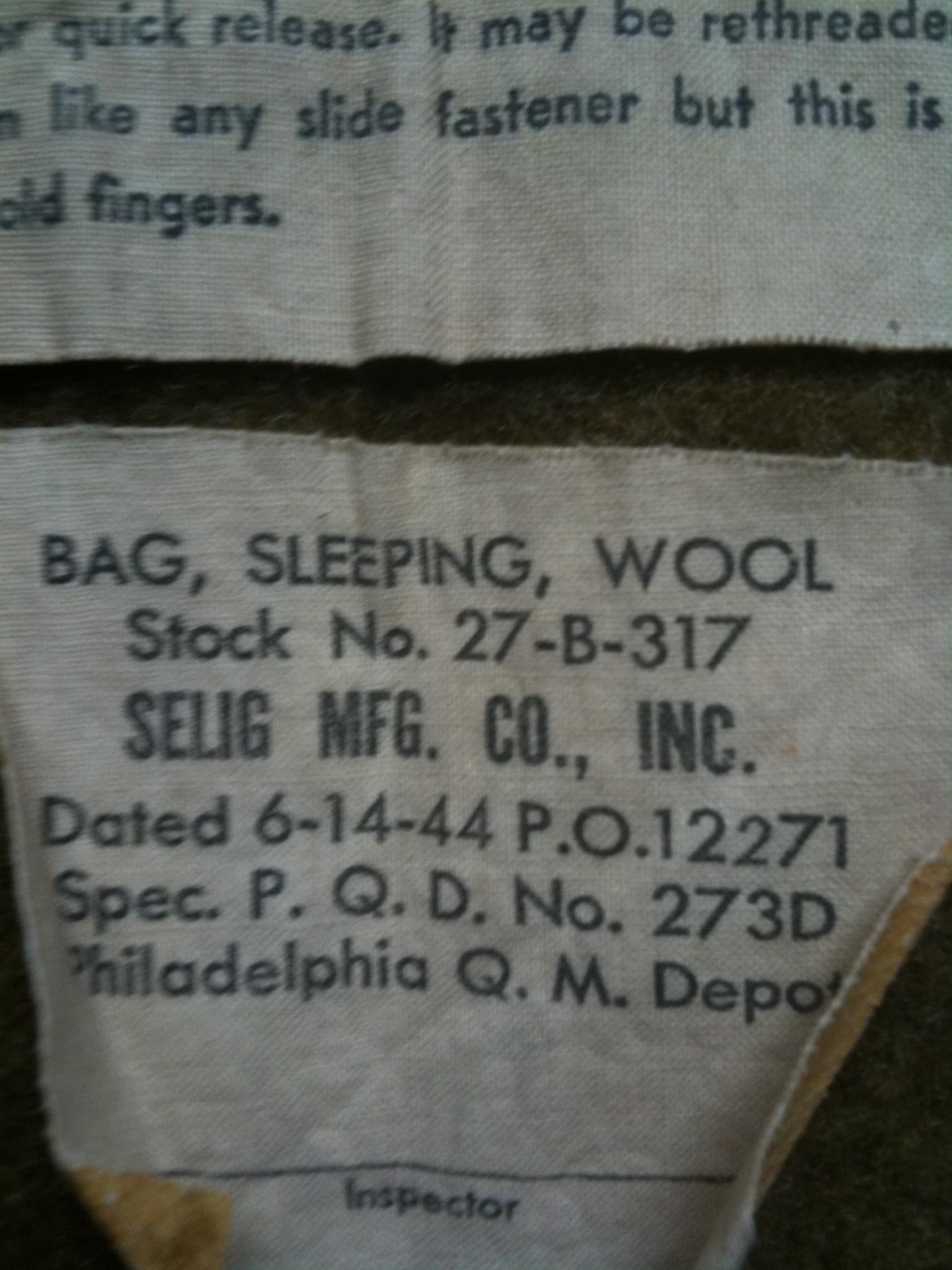 US sleeping bag wool liner WWII « green bags